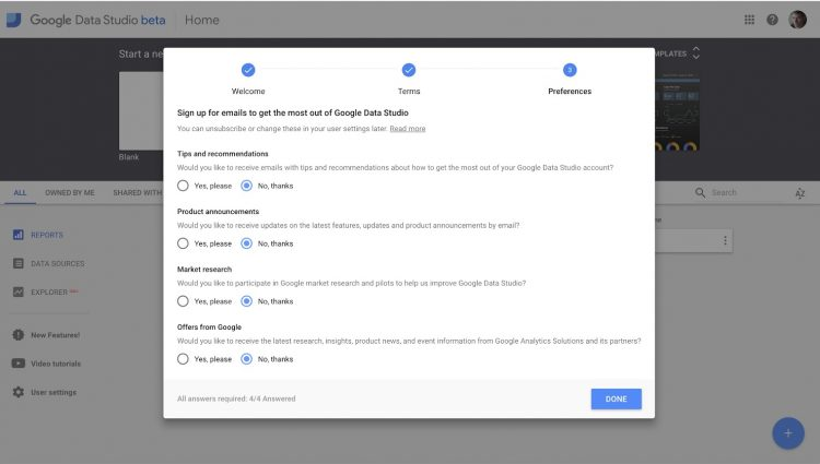 Example of Google's permission form